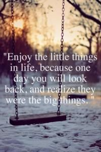 Beautiful Quotes: Enjoy the little things in life, because one day you will look back and realize they were the big things.