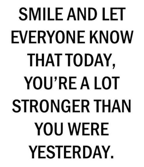 Beautiful Quote Smile And Let Everyone Know That Today, You're A Lot Stronger Than You Were.