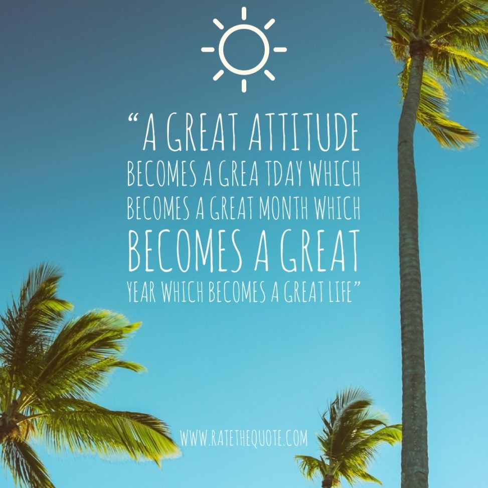 A great attitude becomes a grea tday which becomes a great month which becomes a great year which becomes a great life