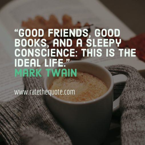 """Good friends, good books, and a sleepy conscience: this is the ideal life."" – Mark Twain"