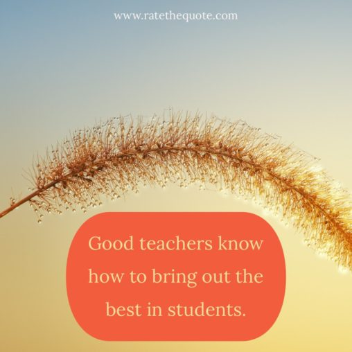 """Good teachers know how to bring out the best in students."" Charles Kuralt"
