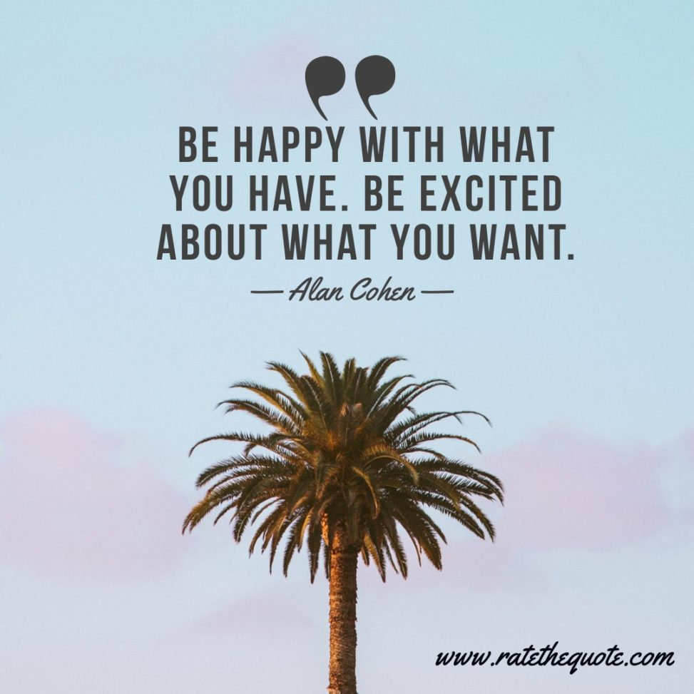 """""""Be happy with what you have. Be excited about what you want."""" – Alan Cohen"""